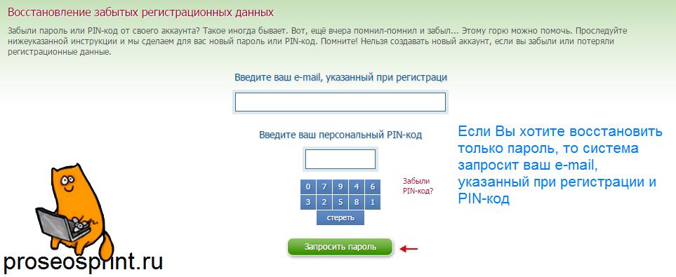 Восстановление регистрационных данных seosprint
