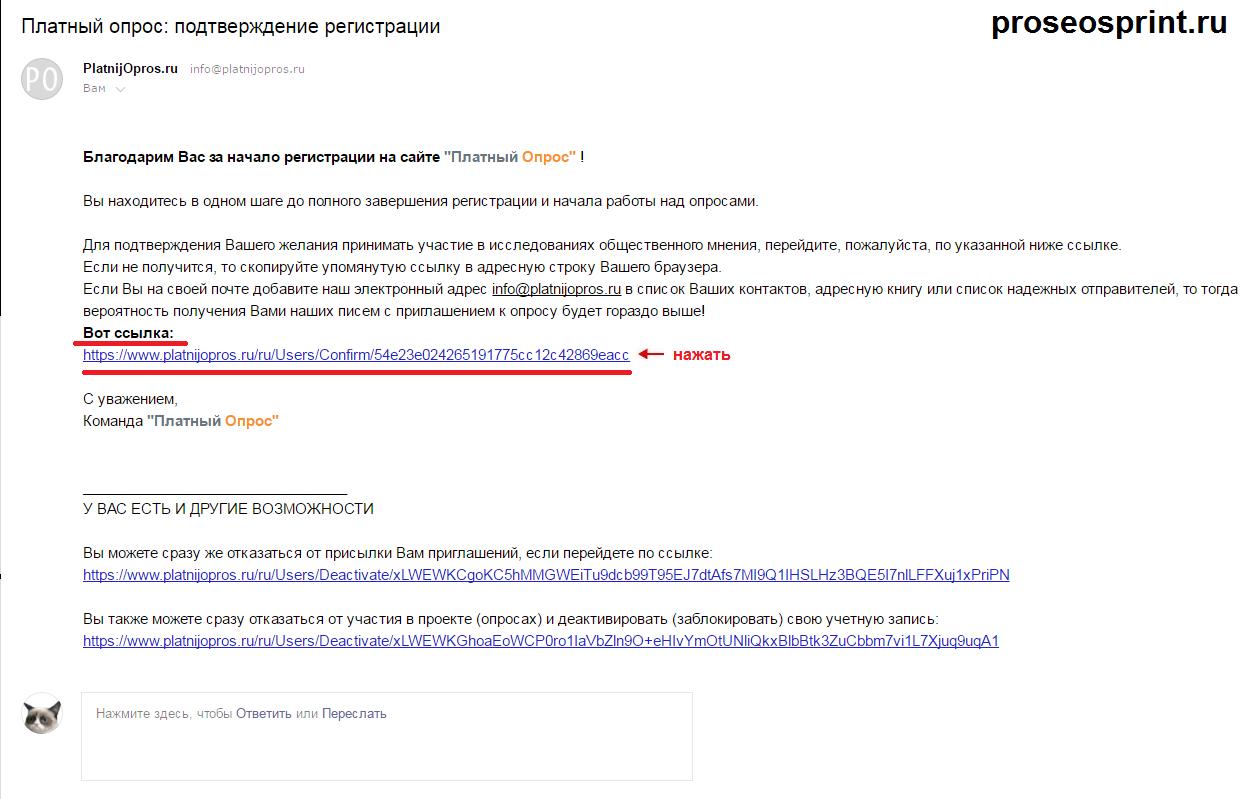 письмо от платный опрос ru