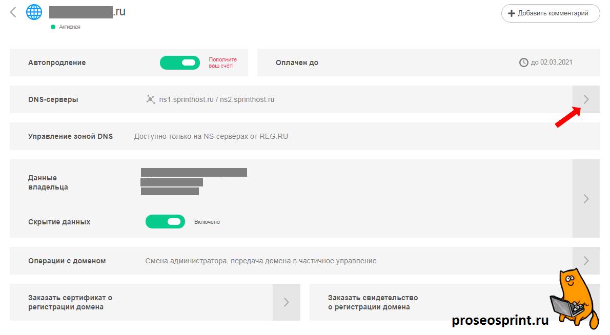 Делегирование домена хостингу